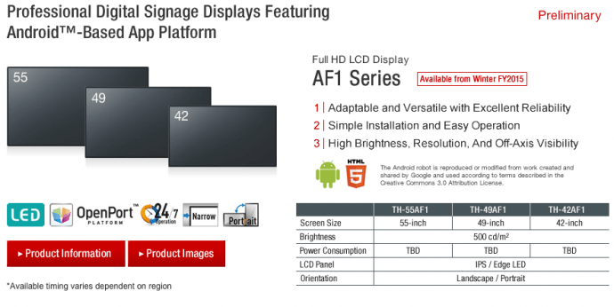 Panasonic Adds Built-In Media Players To Displays; Includes Android Support