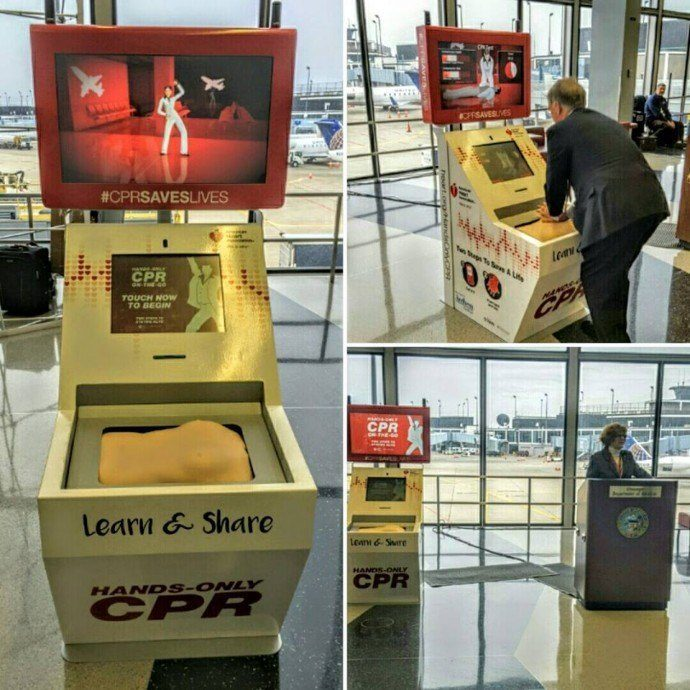 Projects: Airport Kiosks Help Travelers Learn CPR Skills To BeeGees Tune