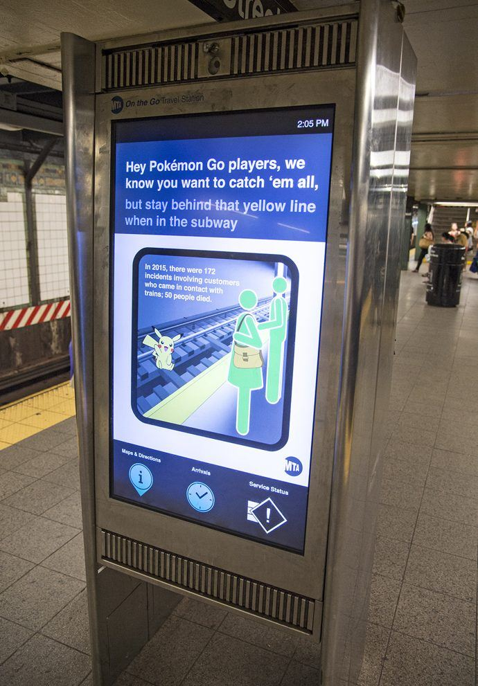 New York's Subway System Resorts To Digital Messaging To Warn Distracted Pokemon Go Players