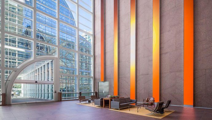 Projects: 86-Foot LED Columns Create Digital Fence Slats In Denver Office Lobby