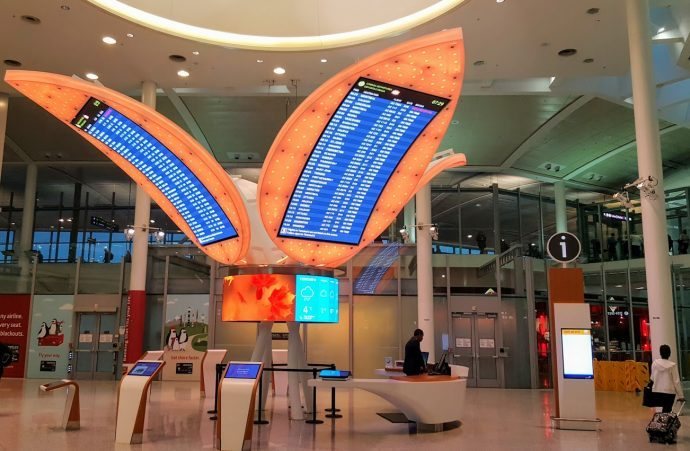 Toronto's Main Airport Embeds Departures Screens In Giant Nature Sculpture