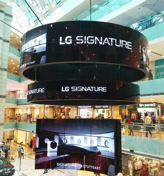 Projects: 70 Flexible OLEDs Create Digital Ad Chandelier At Indian Mall