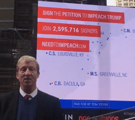 Times Square LED Boards Use Petition Data To Drive Impeach Trump Campaign