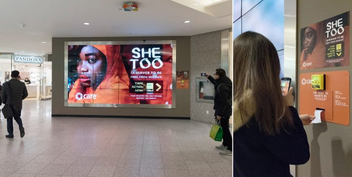 Interactive She Too Digital Wall Prompts On-The-Spot Donations