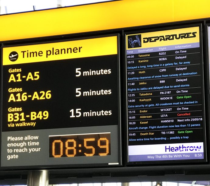 Heathrow Airport Puts Star Wars Destinations On FIDS Displays For #MayTheFourth Day