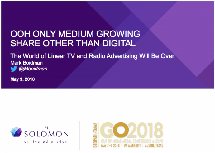 Read Through Mark Boidman's Digital OOH Presentation Done This Morning At GO2018