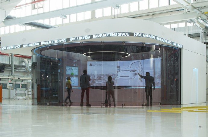 Magna Puts Vast Immersive Meeting Space On Auto Plant Floor